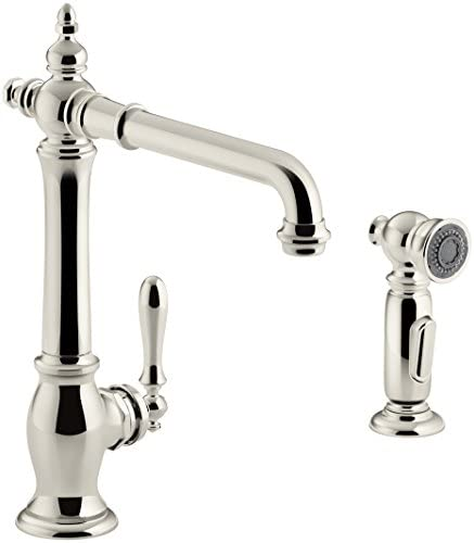 KOHLER K-99265-SN Artifacts Single-Hole Kitchen Sink Faucet with 13-1 2 In. Swing Spout, Two-Function Sidespray, and Victorian Spout Design, Vibrant Polished Nickel
