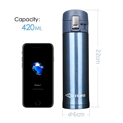 Stainless metallic waters wine bottle FILWO twin Wall machine Insulated holiday Mug 100 Leak Sweat Proof BPA Free Cold 24 Hrs sizzling 12 Hrs fantastic for CampingCyclingGym17 oz machine Flask Blue Commuter holiday Mugs