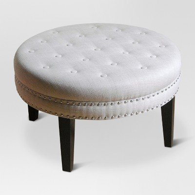 Round Tufted Ottoman with Nailheads - Threshold153; Beige by threshold™