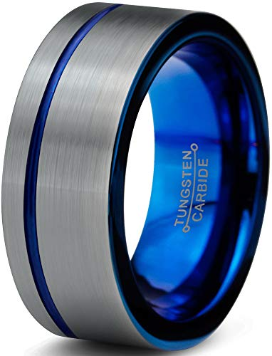 Charming Jewelers Tungsten Wedding Band Ring 8mm for Men Women Blue Grey Offset Line Flat Cut Brushed Size 8 by Charming Jewelers