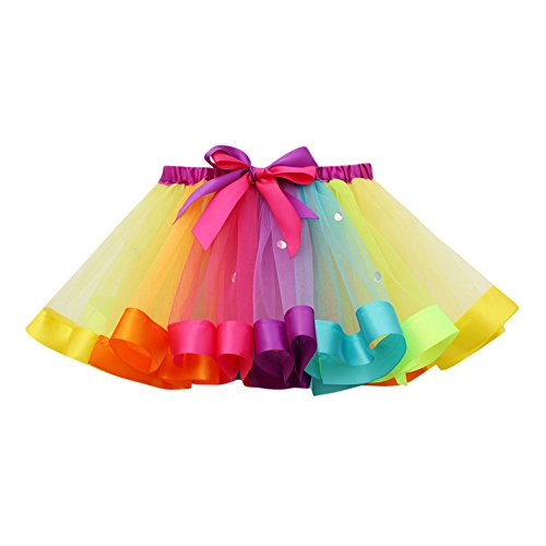 Clearance,Girls Multiple Layered Tulle Ballet Skirt Kids Rainbow Tutu Dance Running Party Costumes Yamally (S, Multicolor ()
