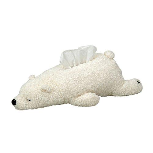 CHOOLD Super Soft Plush Polar Bear Tissue Box Cover Cute Paper Holder Napkin Box For Car Home Bathroom Kitchen Office(White Brown Pink)