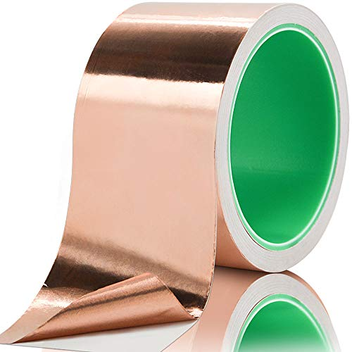 Copper Foil Tape with Conductive Adhesive, for EMI Shielding, Guitar, Soldering, Electrical Repairs, Paper Circuits, Crafts, Grounding ()
