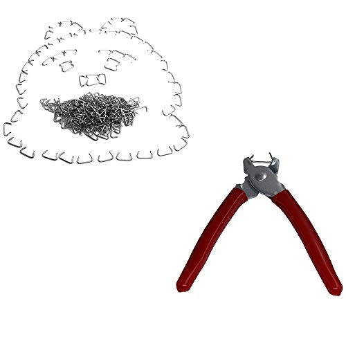 Hog Ring Pliers & 300 Galvanized Hog Rings - Professional Upholstery Installation Kit (Upholstery Installation Kit)