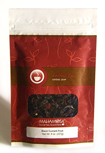 (Mahamosa Herbal Flavored Tea Blend and Tea Infuser Set: 8 oz Black Currant Fruit Herbal Tea, 1 Stainless Steel Tea Ball Infuser (Bundle- 2 items)(Tea ingredients: Elderberries, grapes, hibiscus blossoms, flavoring, freeze-dried blackberries, freeze-dried raspberries and sour cherry pieces, black currant))