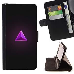 Momo Phone Case / Flip Funda de Cuero Case Cover - Triángulo Rubí Gris púrpura de la joya de Bling - Samsung Galaxy S6 Active G890A