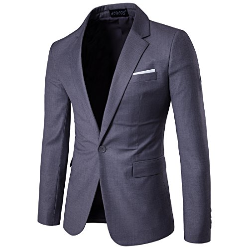 FLY HAWK Men's Suit Jacket Blazer Notched Lapel Slim Fit One Button Stylish Dinner Jacket Tuxedo US 42R (42r Blazer)