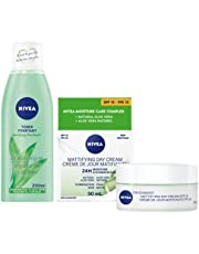 Nivea Mattifying Day Cream for Combination Skin (50ml) and Purifying Toner (200ml), 24 Hour Skin Moisturizer and Face Toner for Oily skin, skincare Bundle, 1 Count