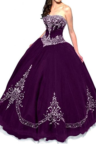 Grape Kleider Damen Quinceanera Strapless Fanciest Embroidery Red Ball Dress w8dpqPqx