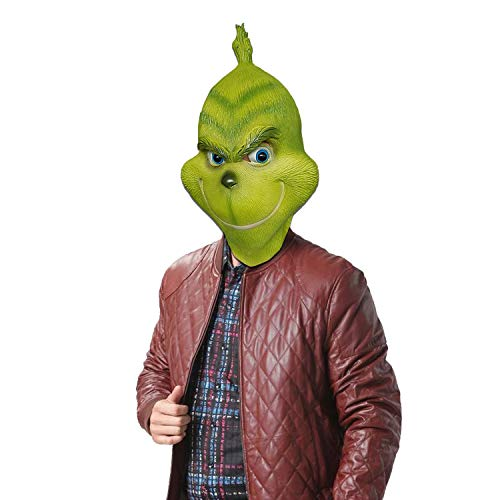 Grinch Mask Costume Face Adult - Deluxe Full