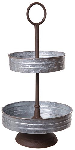 (Vintage Barnyard Style Galvanized Metal Two Tier Annabeth Serving Tray Stand for Appetizers, Desserts, Cupcakes - Great for Weddings, Holidays, Birthday Parties, Home Decoration)