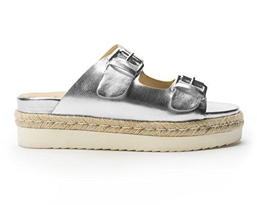 Jane E La Scarpa Da Donna Jojo 2 Fibbia Platform Sandalo Argento Metallizzato