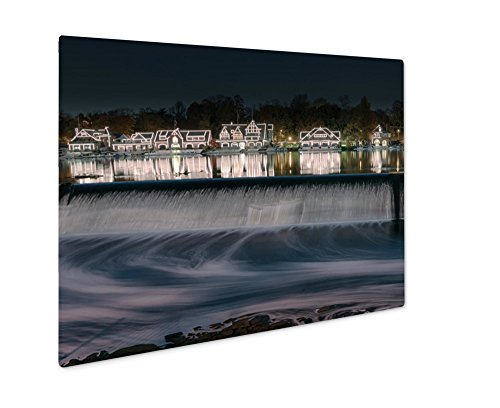 Ashley Giclee Metal Panel Print, Illuminated Houses Along Boathouse Row Reflect On The Schuylkill River, 16x20, AG6488572