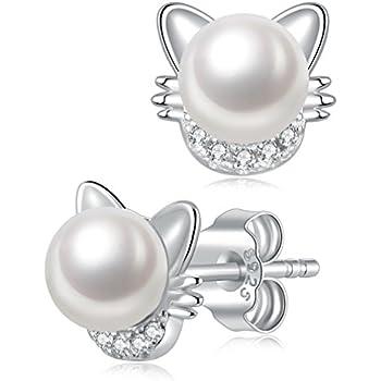 Amazon Com S Leaf Cat Ear Stud Earrings Freshwater