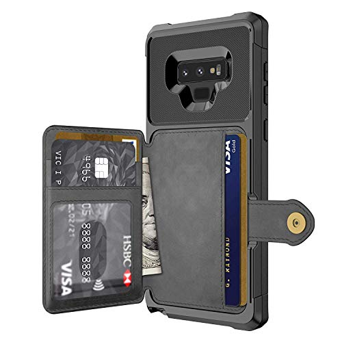 Galaxy Note 9 Case, Sumsung Note 9 Wallet Flip Leather Kickstand Fit Magnetic Wireless Car Charger Mount Slim Durable Shockproof Protective Case Cover with Card Holder (Black) (Holder Wallet Card 9)
