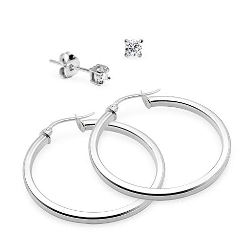 - Polished Sterling Silver Square Tube Round Hoop Earrings 2mm & Matching 3mm CZ Stud Earring Set for Women & Girls 35mm Diameter