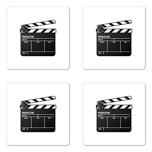 Ambesonne Movie Theater Coaster Set of Four, Realistic Illustration of a Clapper Board Symbol for Film and Video Industry, Square Hardboard Gloss Coasters for Drinks, Black White by Ambesonne