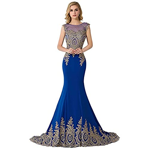 MisShow Women Embroidery Lace Long Royal Blue Mermaid Formal Evening Prom Dress,Royal Blue,16