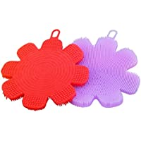 ღ Ninasill ღ Food Grade Silicone Dishwashing Sponge Brush Antibacterial Kitchen Cleaning Pad (Random)