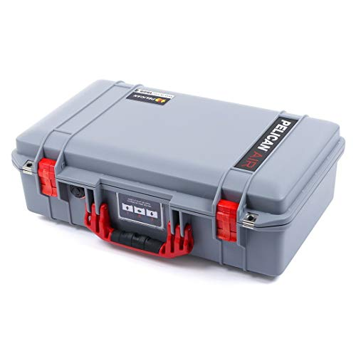 Silver Pelican 1525 Air case with Red Handle & latches. with Foam.