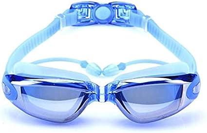 Leilims Gafas de natación for Adultos Vivienda Gafas de natación Gafas de natación con los Deportes acuáticos auditiva Protección Ocular Tapones (Color : Blue)