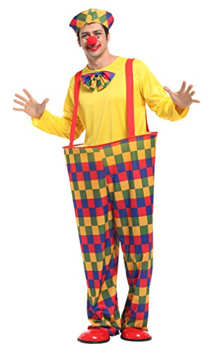 Spooktacular Oversized Silly Clown Costume with Suspender, Pants, & (Cosplay Costumes For Fat Guys)