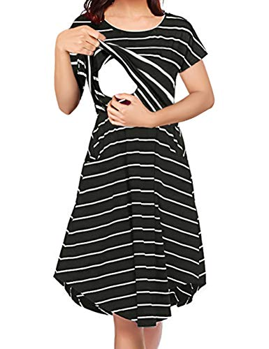 - Larenba Maternity Dress for Work, Womens Striped Double Layers A Line Postpartum Clothes with Discreet Breastfeeding Knit Stylist Nursing Mama Clothing (Black, Large)