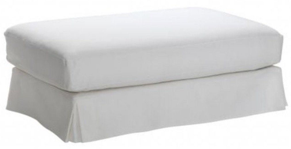 Cotton Hovas Ottoman Cover Replacement, Custom Made for Ikea Hovas Footstool Slipcover. Covers Only (White)