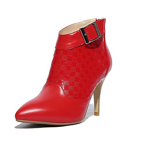 AmoonyFashion Womens Pointed Toe Closed Toe High-Heels Boots With Plaid Pattern Red n83PUJ8iJP