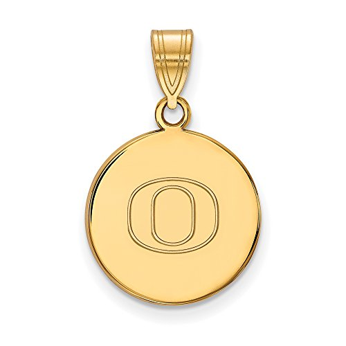 Oregon Medium (5/8 Inch) Disc Pendant (14k Yellow Gold) by LogoArt