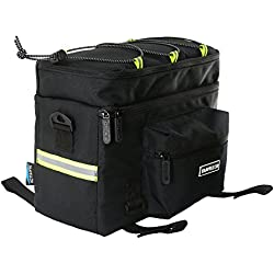 Travellor Mountain Bike Bag 600D Multi-Functional Oxford Waterproof Bicycle Bag Cycling Rear Seat Trunk Bag Panniers Bicycle Accessories Shoulder Bag with Raincoat