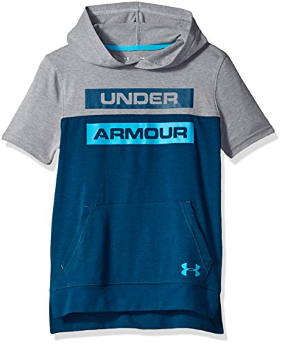 Under Armour Boys sportstyle Short sleeve Hoodie, Techno Teal (489)/Deceit, Youth Medium
