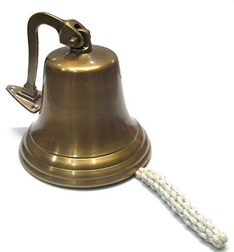 Ages Behind Brass Wall Bell Hanging Dia 7 inches Brown Finish by Ages Behind