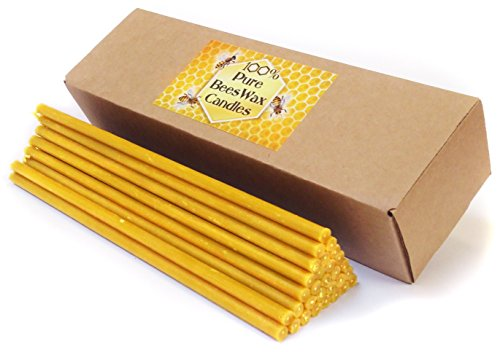 Natural Pure Beeswax Candles Organic Honey Eco Candles in Gift Box (Natural Cotton Wicks, Dripless, Smokeless, Not Ear Candles) (Yellow, 8 Inches (20 cm) 30pcs)