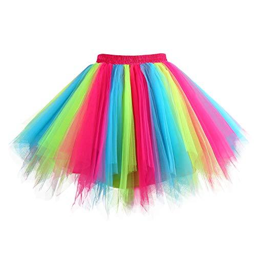 Hanpceirs Women 1950s Short Vintage Tulle Petticoat Skirt Ballet Bubble Tutu Rainbow M -