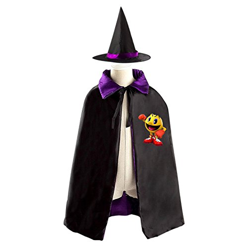 Costume Girl Pac (Pac Ahead Man Witch Cloak Reversible Cosplay Costume Satin Cape Boys Girls Red)