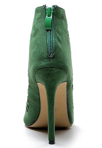 Bouche Sandales Croisées Pu De Poisson De Vert Femmes Rome Sangles Creux Robe À Pompe vB4ywxqCF