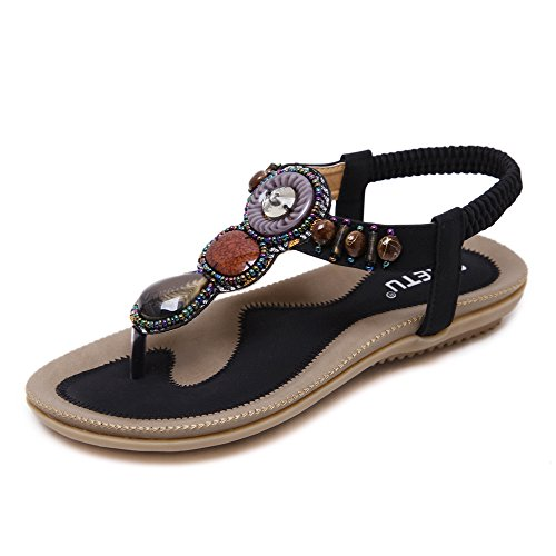 MAKEGSI Summer Women Beading Bohemian Casual Beach Flat T-Strap Sandals Extra Size US 11.5 (11.5, Black)