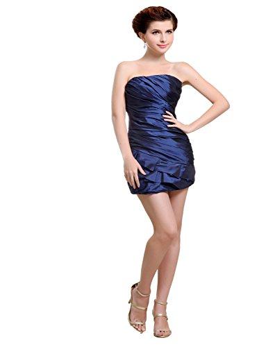 Strapless Mini Length Satin - Angel Formal Dresses Strapless Mini Length Satin Cocktail Dresses (12, Dark Navy)