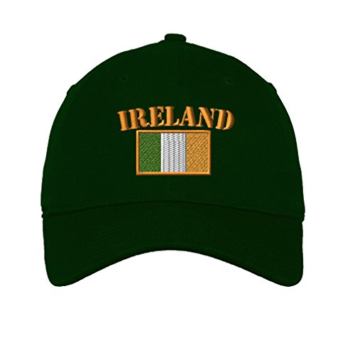 Ireland Flag Twill Cotton 6 Panel Low Profile Hat Forest Green