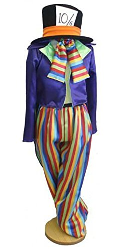 CL COSTUMES Panto-Fancy Dress-World Book Day-Wonderland-Carroll-Unisex MAD Hatter Striped - All Ladies Sizes (UK 22-26) - Mad Hatter Uk Costume