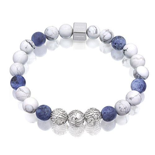 COOLUXU White Blue Stone Men Bracelet for Men Natural Precious Gemstone Onyx 8mm Bead Bracelet Stainless Steel Bracelet Charm from COOLUXU