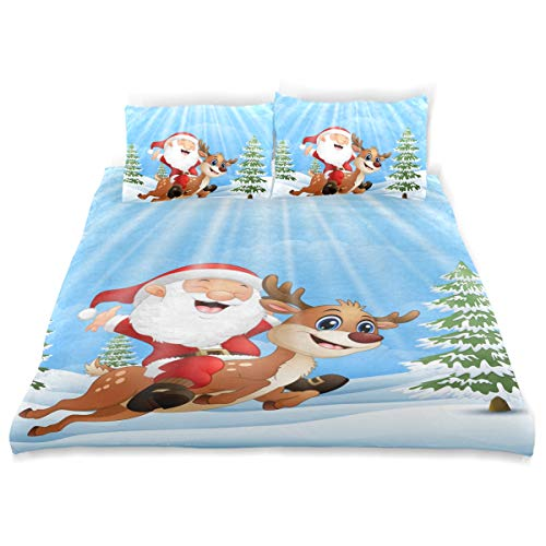 Amanda Billy Mini Christmas Tree Bedding 3 Piece Set Bedding Set Full Set 66 × 90 in Bed Cover, 2 Pillowcase Pattern Soft Microfiber Bed Cover Set Children's Gift -