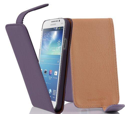 Cadorabo - Funda Flip Style para Samsung Galaxy MEGA 5.8 (I9150) de Cuero Sintético Liso - Etui Case Cover Carcasa Caja Protección en MARRÓN-CACAO ORQUÍDEA-VIOLETA