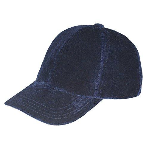 VANCOL Plain Adjustable Velvet Baseball Cap (Unstructured) (Navy Blue)