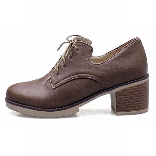 Brown up Heel Lace Mid Oxford Shoes Chunky Latasa Women's 6WacFnyAU