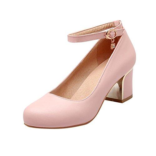 Latasa Donna Casual Tacco Medio Cinturino Alla Caviglia Con Cinturino Rosa