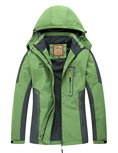 Diamond Candy Waterproof Rain Jacket Women Lightweight Outdoor Raincoat Hooded for Hiking Green M