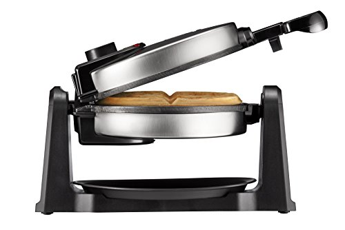 Chefman Rotating Belgian Waffle Maker 180° Single Flip Waffle Iron w/Non-Stick Plates Creates Restaurant Style Waffles Adjustable Timer & Locking Lid Space Saving Includes Drip Plate,Stainless Steel