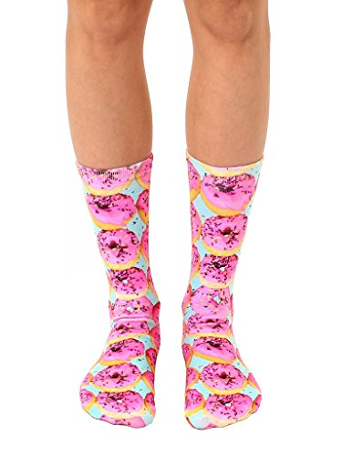 (Pink Sprinkle Donuts Polyester Stretch Unisex Crew Socks)